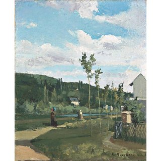 The Museum Outlet - Strollers on a Country Road, La Varenne-Saint-Hilaire, 1864 - Poster Print Online Buy (24 X 32 Inch)