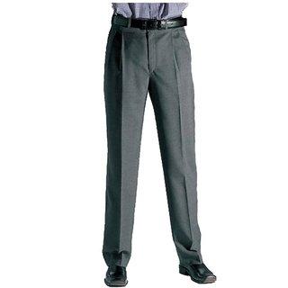 Grey Regular Slim Fit Formal Trousers