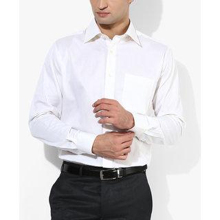 SSB DJ White  Solid Regular Fit Formal Shirt
