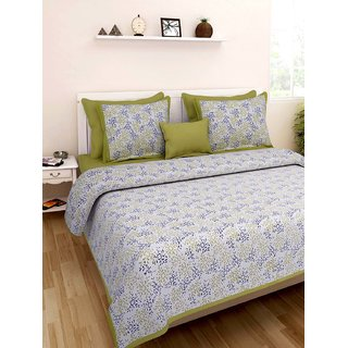 Art Bazar Double Cotton Printed Bed Sheet With 2 Pillow Covers-(ABDB219)