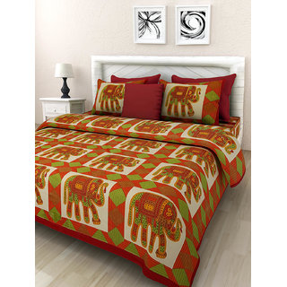Art Bazar Double Cotton Printed Bed Sheet With 2 Pillow Covers-(ABDB220)