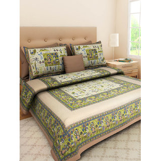 Art Bazar Double Cotton Printed Bed Sheet With 2 Pillow Covers-(ABDB251)