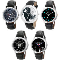 Jack Klein Round Dial Leather Strap Elegant Analog Wrist Watches - Pack Of 5