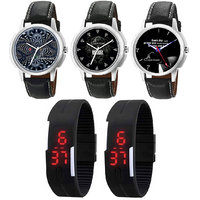 Jack Klein Round And Rectangular Dial Leather And Silicone Strap Elegant Analog And Digital Wrist Watches - Pack Of 5