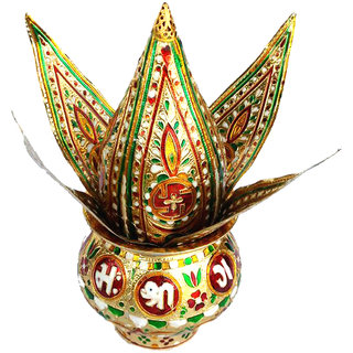 Mangal Kalash set Meenakari Work for Puja Kalash in Temple Home Decor God Prayer