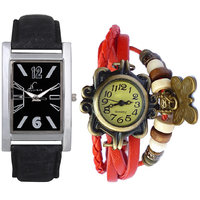 Jack Klein Round And Rectangular Dial Leather Strap Elegant Analog Wrist Watches