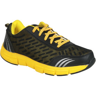 Action MenS Black Yellow Sport Shoes