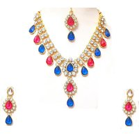 Blue and pink Two Line Drop Necklace Set