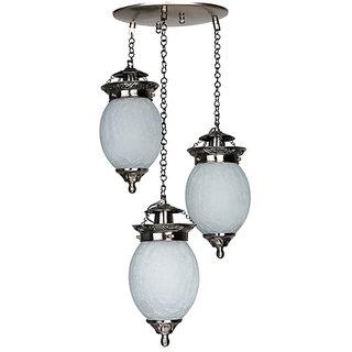Fos Lighting Triple Chandni Crackle Oval Hanging Light
