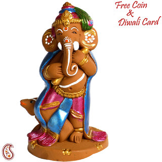 Aapno Rajasthan Multicolor Terracotta Ganesh With Mouse Showpiece
