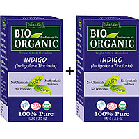 Indus Valley BIO Organic INDIGO HENNA (Indigofera Tinctoria) With Color Recipe Book- Twin Set