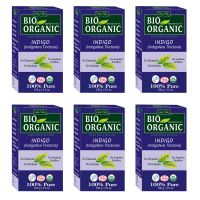Indus Valley BIO Organic INDIGO HENNA (Indigofera Tinctoria) With Color Recipe Book- Pack Of 6