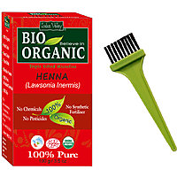 Indus Valley BIO Organic Red HENNA (Lawsonia Inermis) With Color Recipe Book + Applicator Brush- Combo Kit