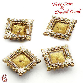 Decorated Dull Gold Candle Diya Set With Glass Stones And Beads