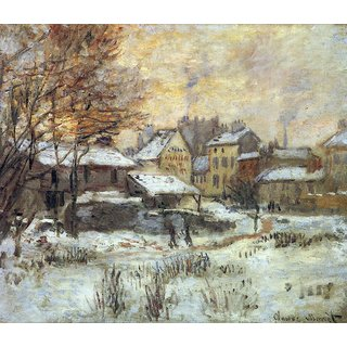 The Museum Outlet - Snow at sunset, Argenteuil in the snow by Monet - Poster Print Online Buy (24 X 32 Inch)