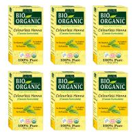 Indus Valley BIO Organic Colourless HENNA (Cassia Auriculata) With Color Recipe Book- Set Of 6