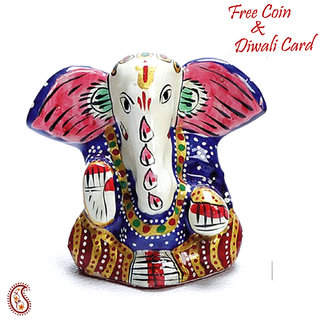 Yoga Ganapati Hand Painted Enamelled Metal Figurine