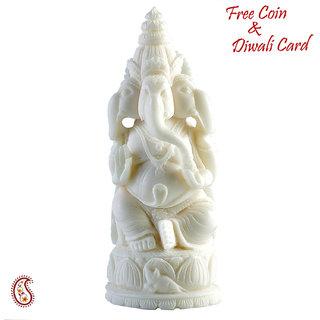 Dvija Ganapati Statue In White Rajastani Marble