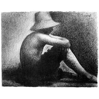 The Museum Outlet - Sitting boy in straw hat by Seurat - Poster Print Online Buy (24 X 32 Inch)