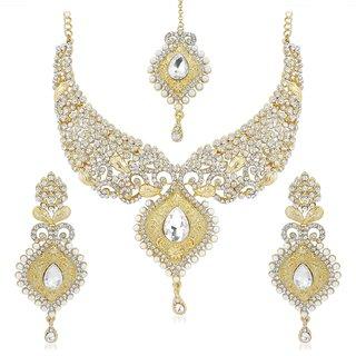 Vidhi Jewels Golden Colour Zinc Casting Necklace Set for Women VNK135G