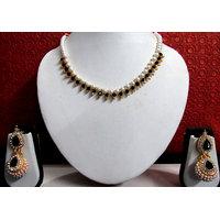 Black Stone Pearl Gota Jhumka Necklace Set