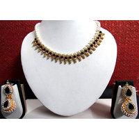 Black Stone Pearl Gota Necklace Set