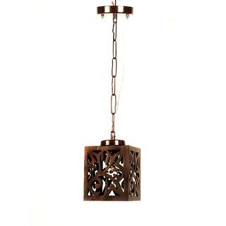 Fos Lighting Wooden Cut Square Mini Pendant Light