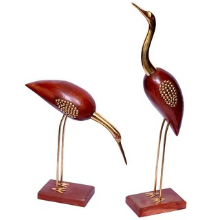ikashan Brown Wooden Decorative Small Birds