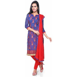 4b0d75510 81%off Swaron Navy Blue and Red Embroidered Chanderi Unstitched Dress  Material 447D3012