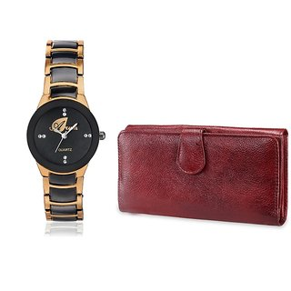 Arum Combo Copper Black  Stylish  Watch With Brown Wallet ANWWC-028