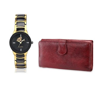 Arum Combo Golden Black  Stylish  Watch With Brown Wallet ANWWC-029