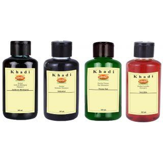 Khadi Dhamaka Offer - Herbal Shampoos - Shikakai, Satritha, Neem Sat, Amla Bringraj (pack of 4 Shampoos) (105 ML each)