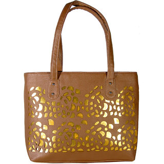 Saffron Craft Women's Brown PU Leather-Handbag.