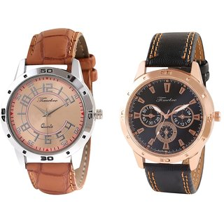 Timebre Men Brown Leather Casual Analog Watches Combo-120