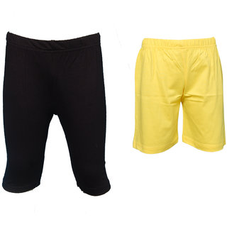 Pack Of 2 Combo 1 Black Capri 1 Yellow Short For Girls By Little Stars
