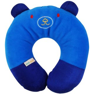 Ole Baby Cat Face Neck Support Pillow Childrens Neck Pillow Soft and Plush Blue 0-12 months