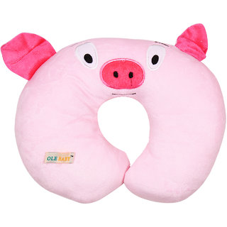 Ole Baby Pig Cartoon Face Neck Support Pillow, Children's Neck Pillow, Soft and Plush,Yellow 0-12 months