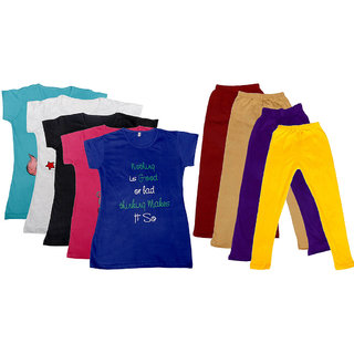 IndiWeaves Girls Cotton Leggings With T-Shirts(Pack of 4 Legging and 5 T-Shirts )Multi-ColouredPurpleYellow30