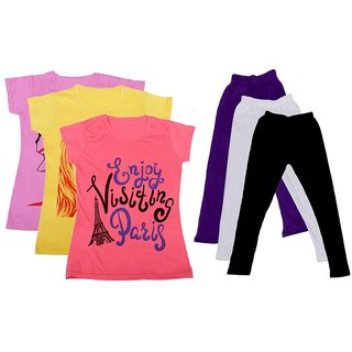 IndiWeaves Girls Cotton T-Shirts With Cotton Leggings (Pack of 3 T-Shirts 3 Leggings)PinkYellowPinkPurpleWhiteBlack30