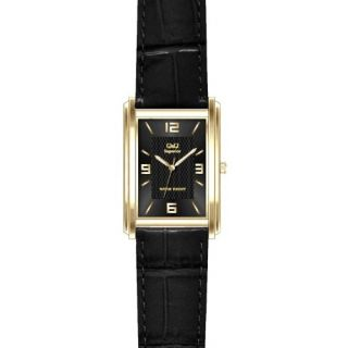 Q&Q Superior Collection Formal Leather Strap Black Dial Analog Watch