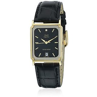 Q&Q Superior Collection Formal Leather Strap Golden Case Analog Watch
