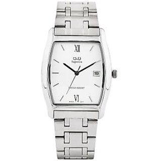 Q&Q Superior Collection Silver Steel Design Couple Anallog Watch