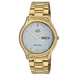 Q&Q Superior Collection Golden Color Round White Dial Analog Watch