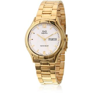 Q&Q Superior Collection Brown Golden Color Round White Dial Analog Watch