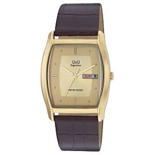 Q&Q Superior Collection Golden Case& Dial Leather Black Strap Analog Watch
