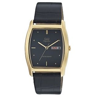 Q&Q Superior Collection Golden Case& Black Dial Leather Strap Analog Watch
