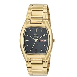 Q&Q Superior Collection Golden Chain Black Dial Stainless Steel Analog Watch