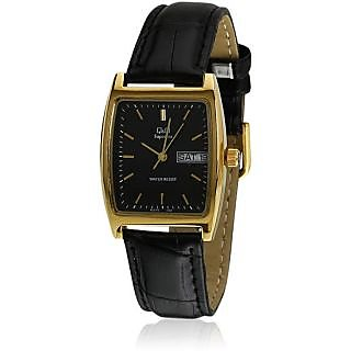 Q&Q Superior Collection Lether Strap Black Dial Analog Watch