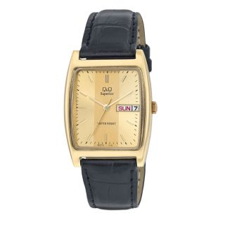 Q&Q Superior Collection Lether Strap Gold Dial Analog Watch