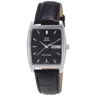 Q&Q Superior Collection Lether Strap Silver Case Black Dial Analog Watch